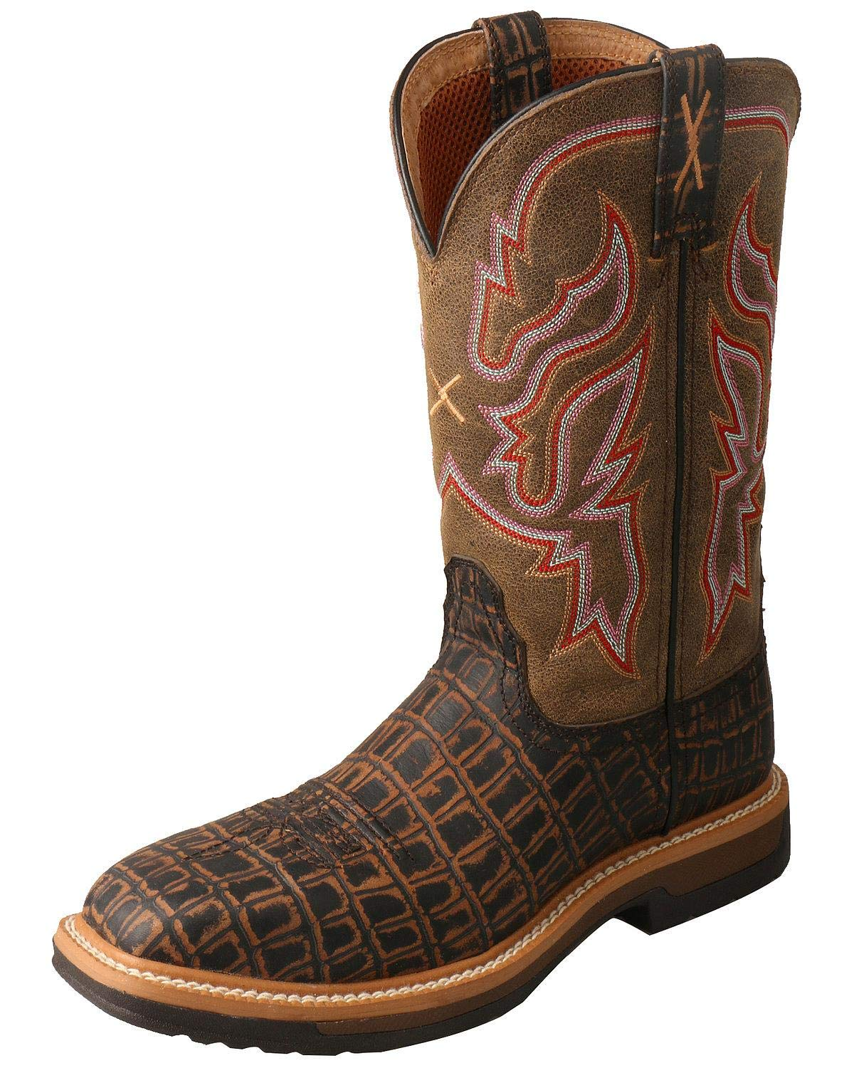 Brown Twisted X Women's Lite Cowboy Caiman Print Western Work Boot Composite Toe