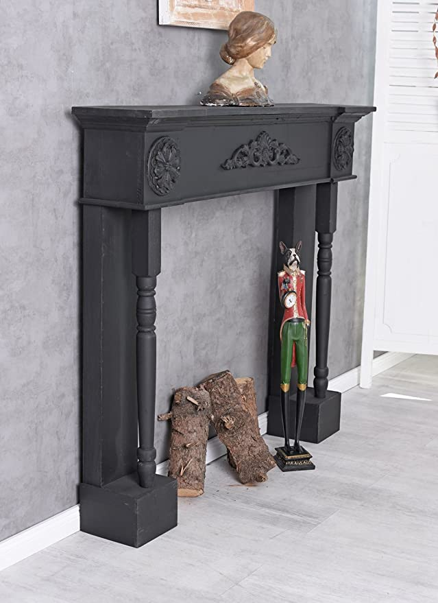 Consola de chimenea Casa De Campo Estufa Negro Chimenea decorativa Manto de chimenea revestimiento de chimenea Palazzo Exclusivo: Amazon.es: Bricolaje y ...