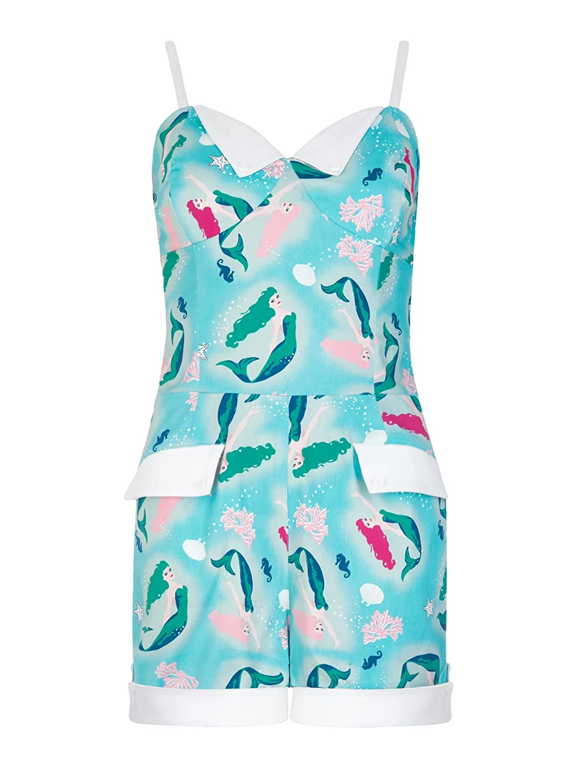Vintage Rompers and Retro Playsuits Collectif Vintage Womens Futura Mermaid Playsuit $66.17 AT vintagedancer.com