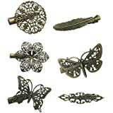 6 Assorted Vintage Hair Clips Pins Butterfly Dragonfly Flower Feather Women Girls