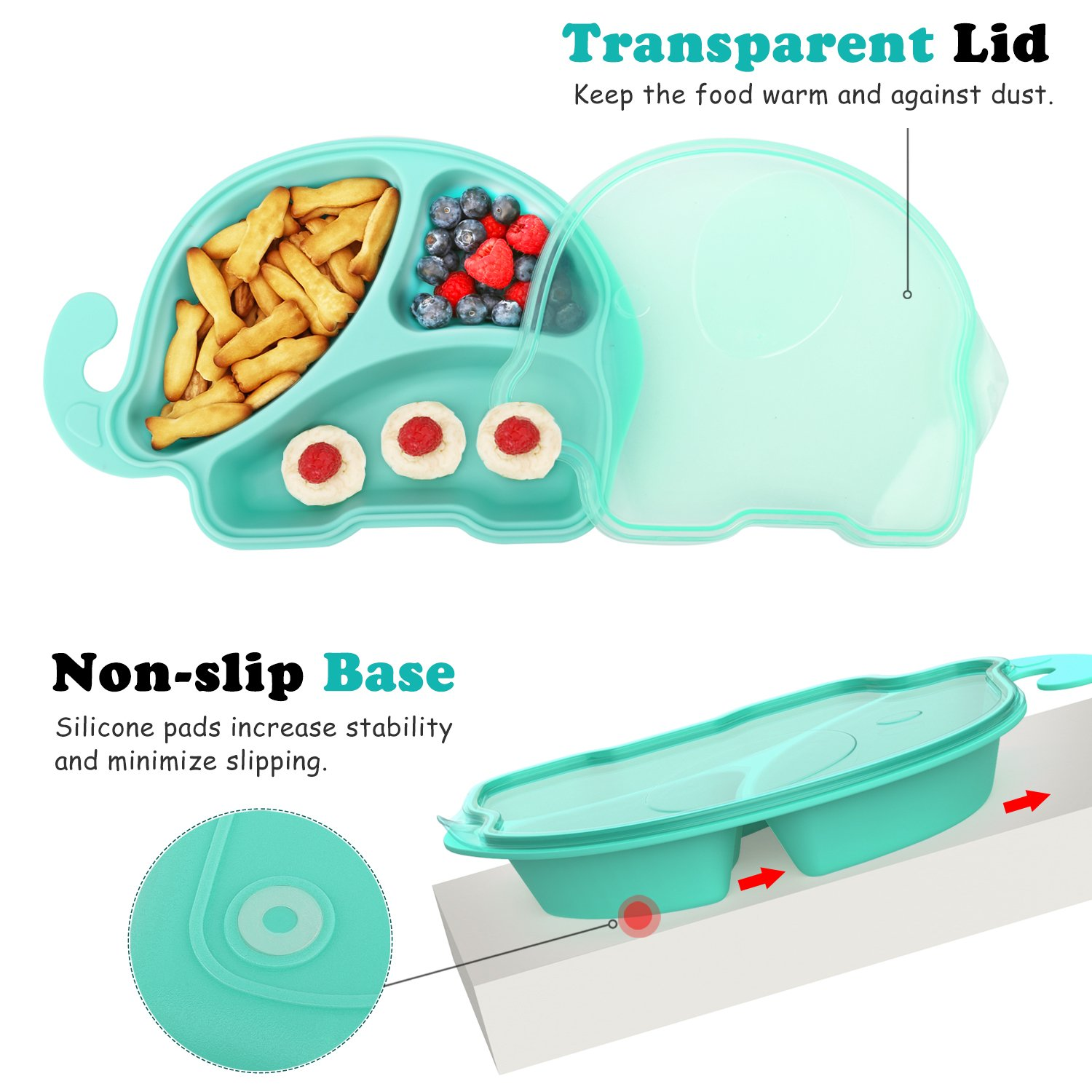 Spill Proof Nonslip Divided Dinner Plate Feeding Bowl Cartoon Elephant Dish Tray for Toddlers Zooawa Baby Divided Plate BPA free