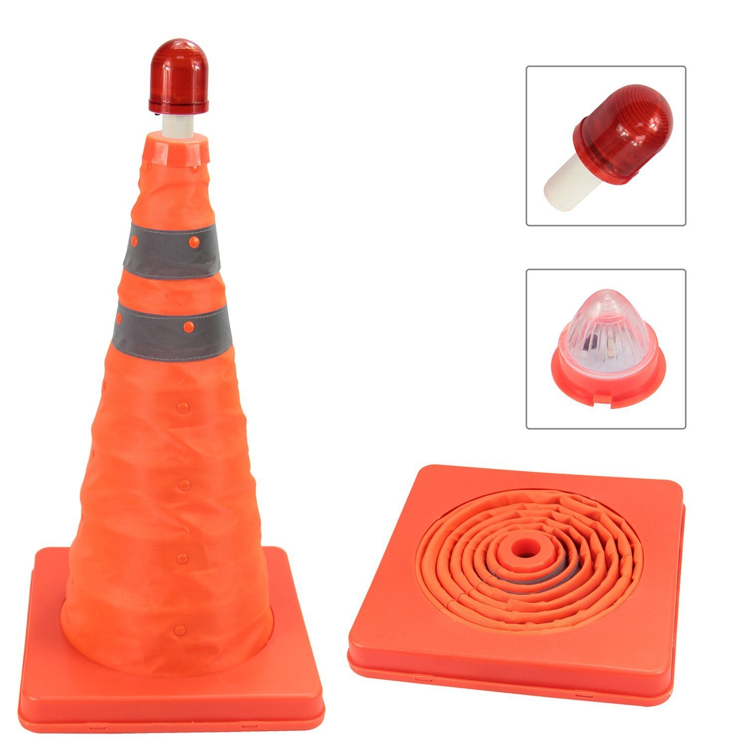 Upgraded Flashing Traffic Cone with Removable Inside Light & RED LED Flashlight Included, High Visibility Collapsible Pop up Reflective Cone, Fluorescent Orange - Highest Quality