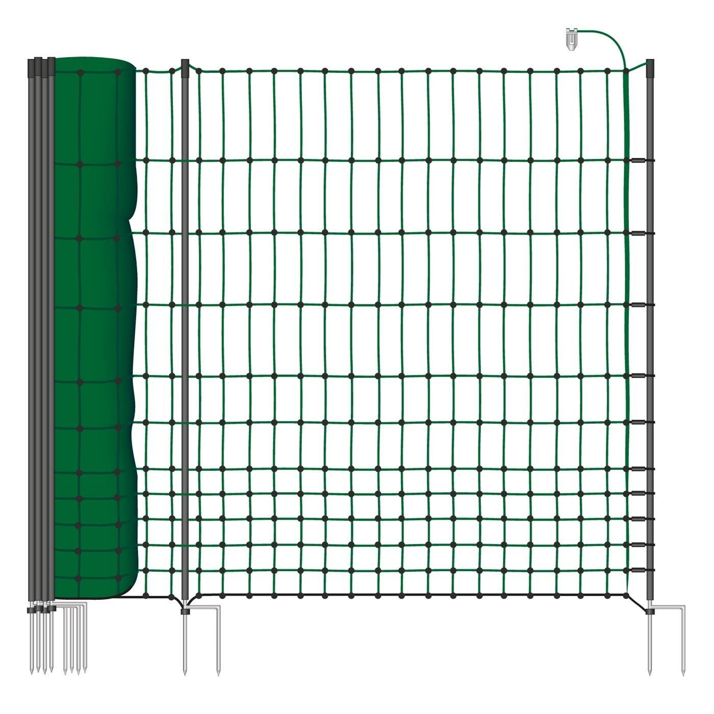 50 m Hühnerzaun, Geflügelzaun, Geflügelnetz, Kleintiernetz, 112 cm, 20 Pfähle, 2 Spitzen, grün von VOSS.farming farmNET