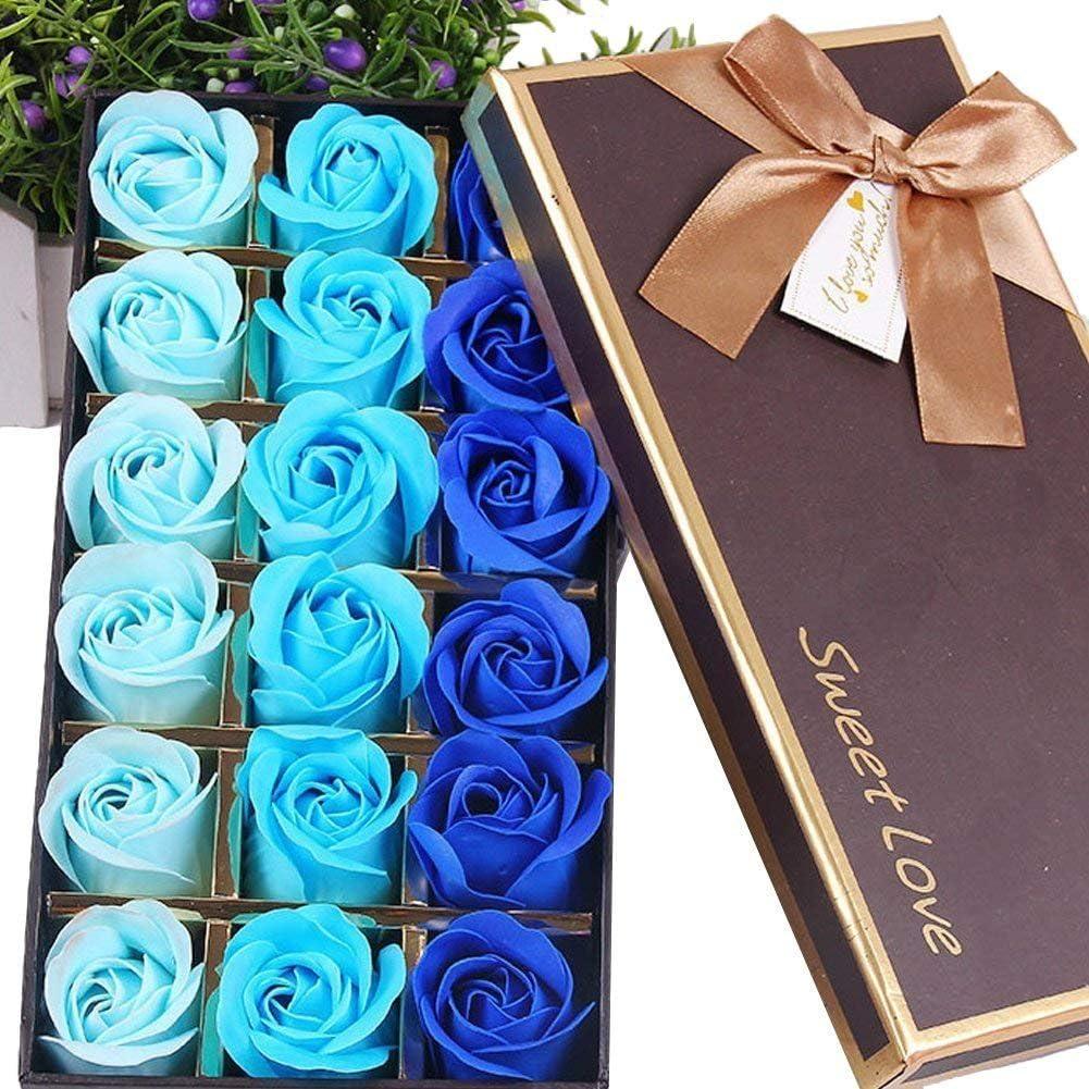 Bleu FunRun Salle De Bain Fleurs Savon parfum/ée Fleur Bain Corps Savon P/étales De Rose en bo/îte-cadeau,18 Pi/èces