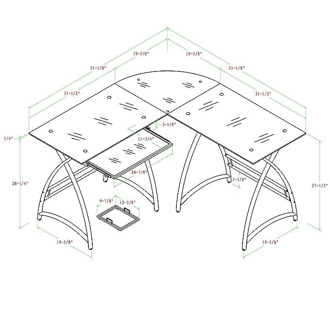 Amazon Com Walker Edison Premium Soreno Glass Corner Computer Desk