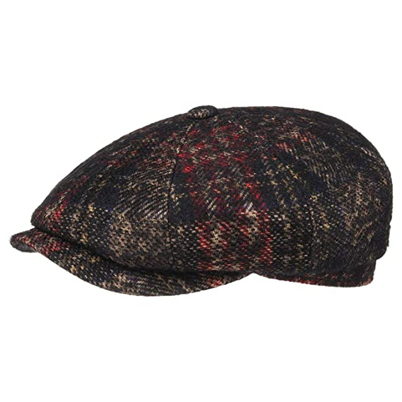 44fe0473c8c8be Stetson Hatteras Check Virgin Wool Cap Newsboy Driver´s (55 cm - Black)