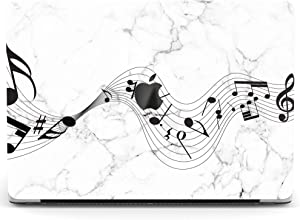 Wonder Wild Case for MacBook Air 13 inch Pro 15 2019 2018 Retina 12 11 Apple Hard Mac Protective Cover Touch Bar 2017 2016 2020 Plastic Laptop Print Cute Marble Music Notes White Texture Black Song