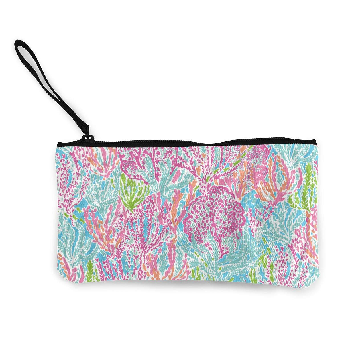 DH14hjsdDEE Lilly Flowers Zipper Canvas Coin Purse Wallet Cellphone Bag With Handle Make Up Bag