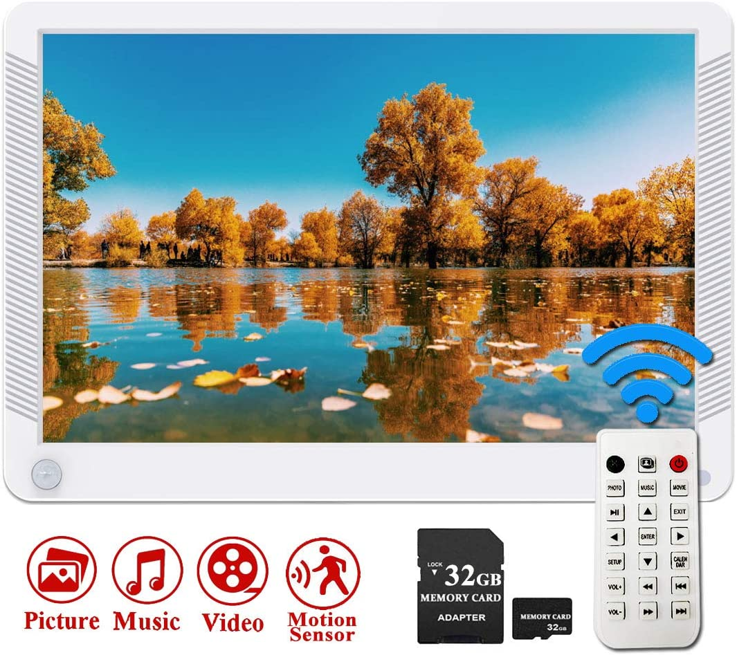 Digital Photo Frame, Videosky 10.1 inch 920×1080 IPS Screen Digital Picture Frame with Motion Sensor Support Breakpoint Play, Music, 1080P Video, Auto Power On Off, SD Card and USB