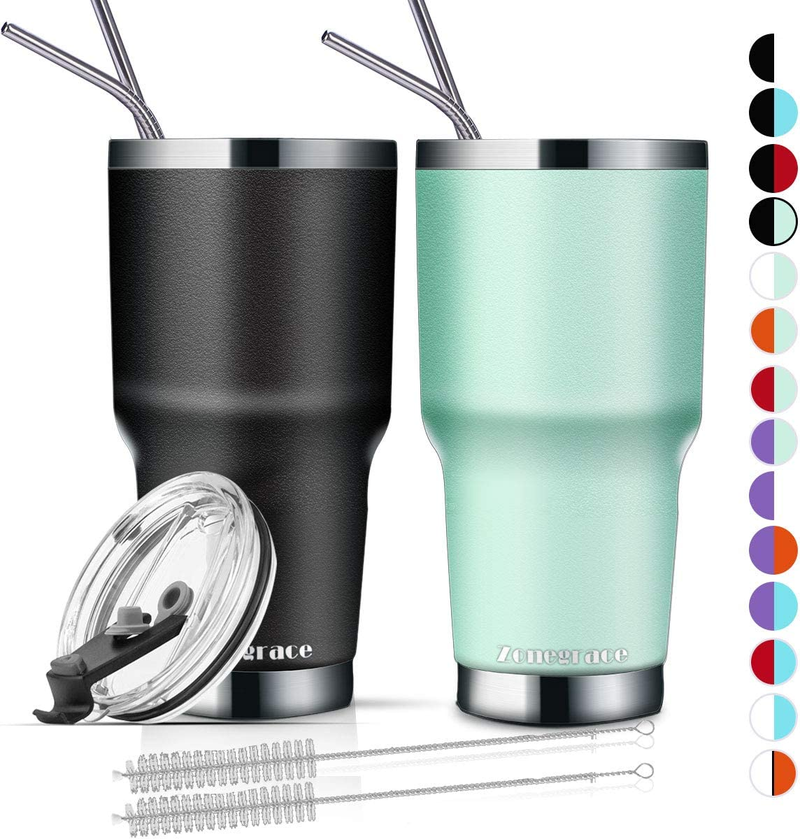 Zonegrace 2 Pack 30oz Insulated Tumbler cups with Lids and Straw, Stainless Steel Vacuum Double Wall Travel Tumbler, Durable Insulated Coffee Travel Mug, Thermal Cup with Splash Proof Sliding lids
