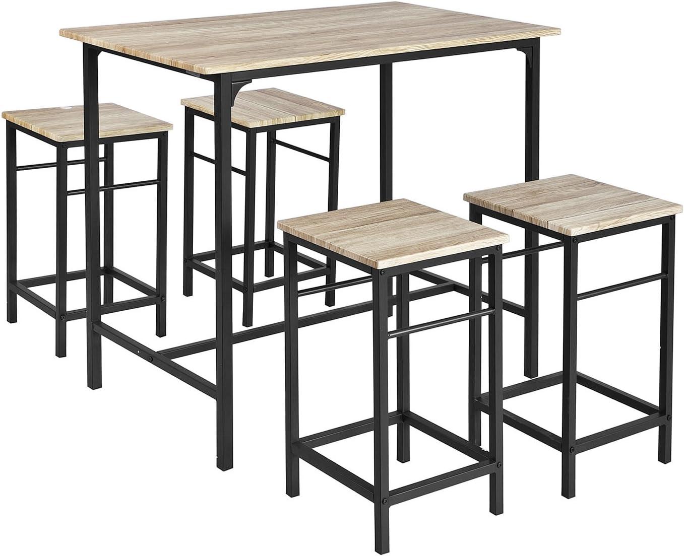 SoBuy Set Mesa Alta de Bar y 4 Taburetes OGT11-N,ES (4 sillas)