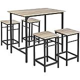 Ensemble table haute de bar ronde et 4 chaises noir Table haute avec tabouret pour cuisine