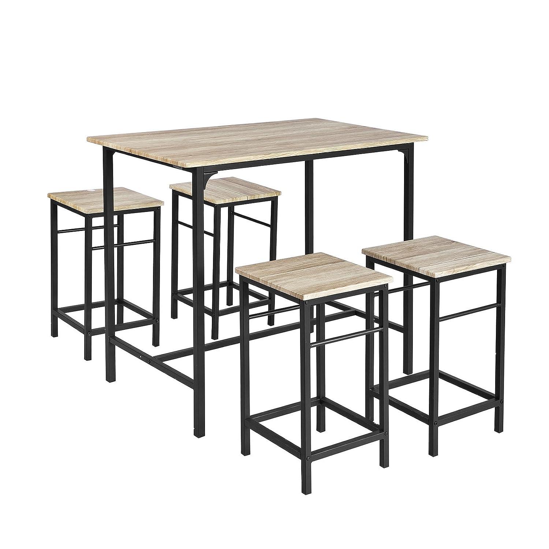 SoBuy® OGT11-N, Bar Set-1 Bar Table and 4 Stools, Home Kitchen Breakfast Bar Set Furniture Dining Set