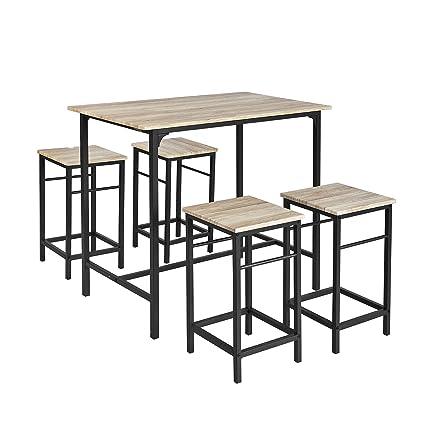 Mange Debout Et Tabouret.Sobuy Ogt11 N Set De 1 Table 4 Tabourets Ensemble Table De Bar Bistrot 4 Tabourets Avec Repose Pieds Table Mange Debout Table Haute Cuisine