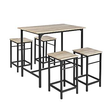 7233e09f90543b SoBuy OGT11-N Set de 1 Table + 4 Tabourets Ensemble table de bar bistrot