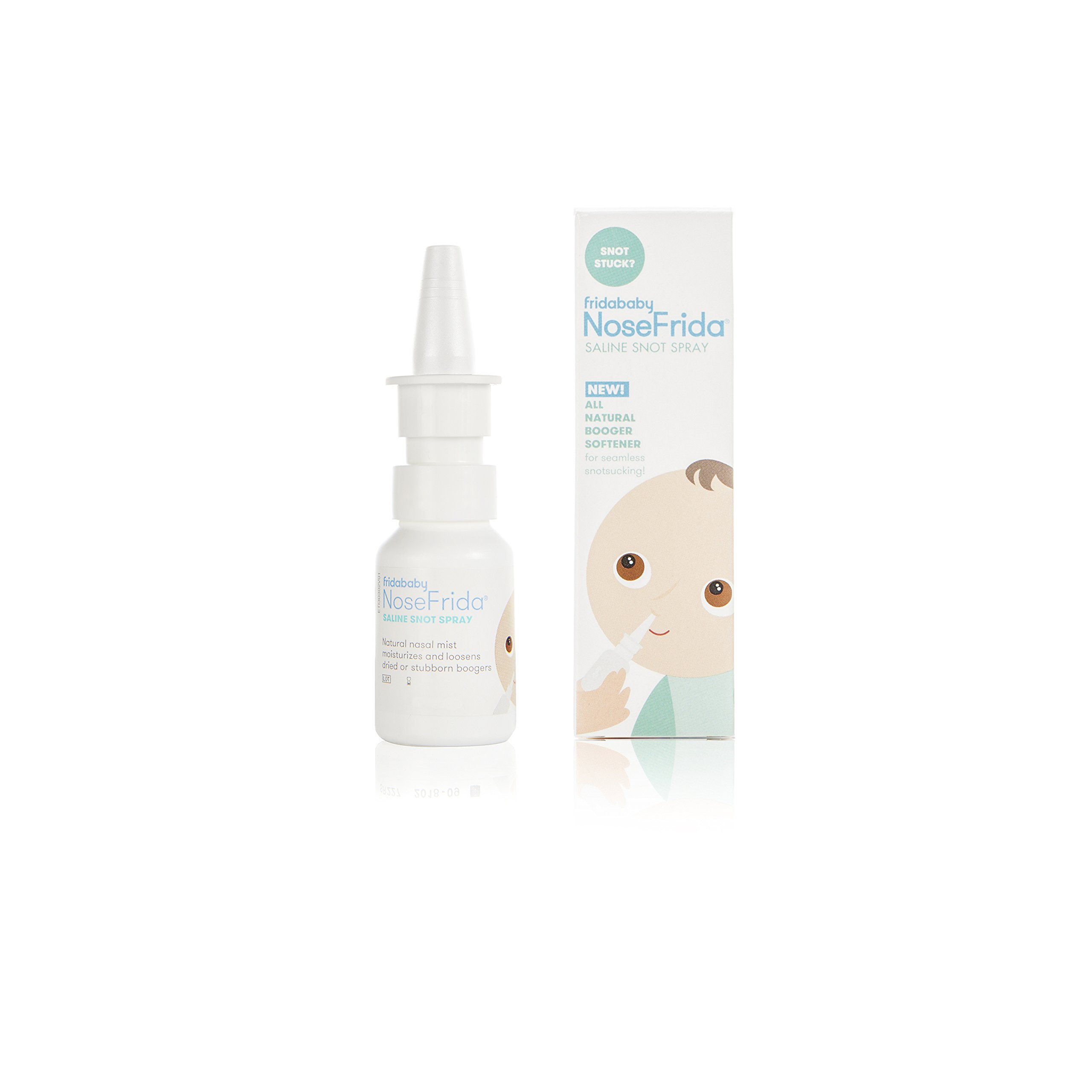 Saline Nasal Spray NoseFrida Saline Snot Spray by Fridababy. All-natural Sea Salt and Water formula moisturizes and cleans nasal passages