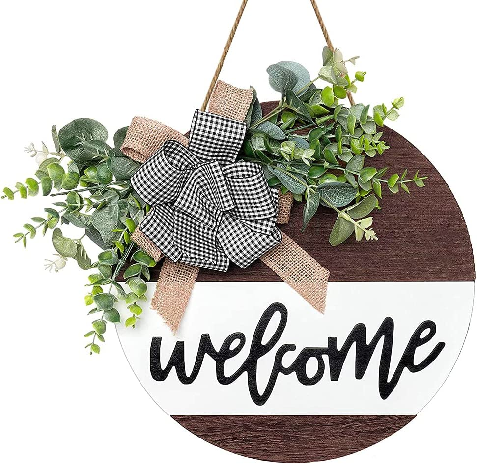 Welcome Wreath for Front Door, 12 inch Welcome Sign Decor for Home, Wooden Door Hanging Sign with Premium Greenery for Front Porch, Restaurant, Spring, Fall Farmhouse Decorations