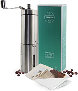 Manual Coffee Grinder, by Created Eco - Portable Handground Coffee Bean Grinder - Easy to Adjust Burr Coffee Grinder - Perfect Coffee Gift | Gourmet Gifts for a Coffee Lover