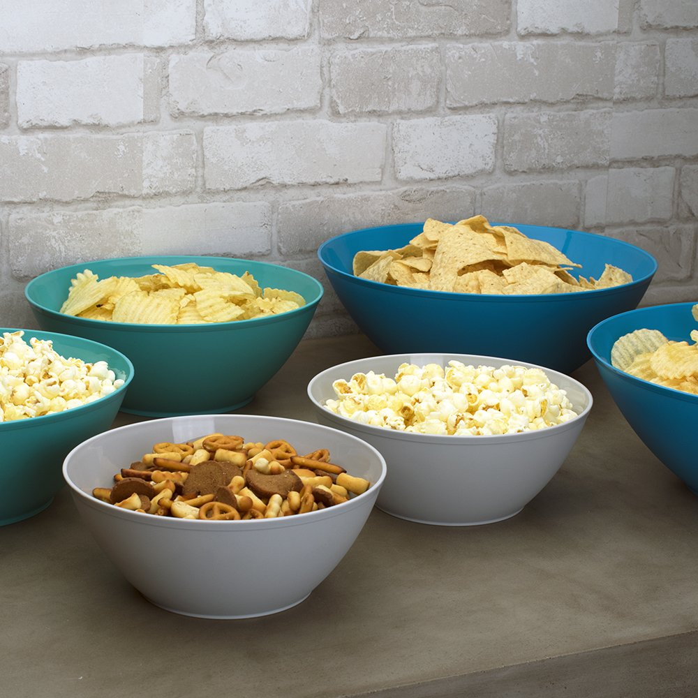 Fresco Plastic Mixing and Serving Bowls | 12-inch 10-inch 8-inch | 6-piece set Coastal by US Acrylic (Image #3)