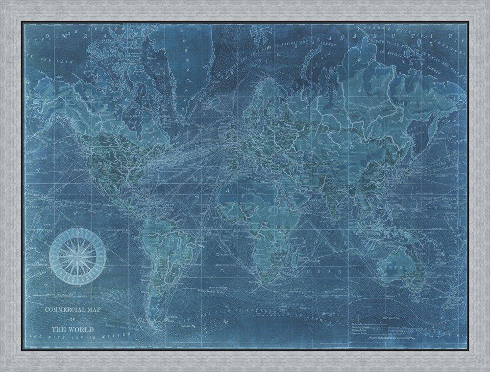 Amazon.com: Azure World Map by Vision studio Framed Art Print Wall ...