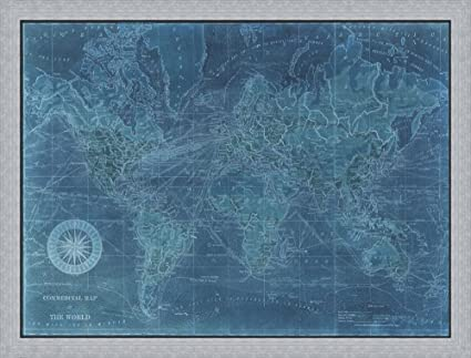 Amazon.com: Azure World Map by Vision studio Framed Art Print Wall