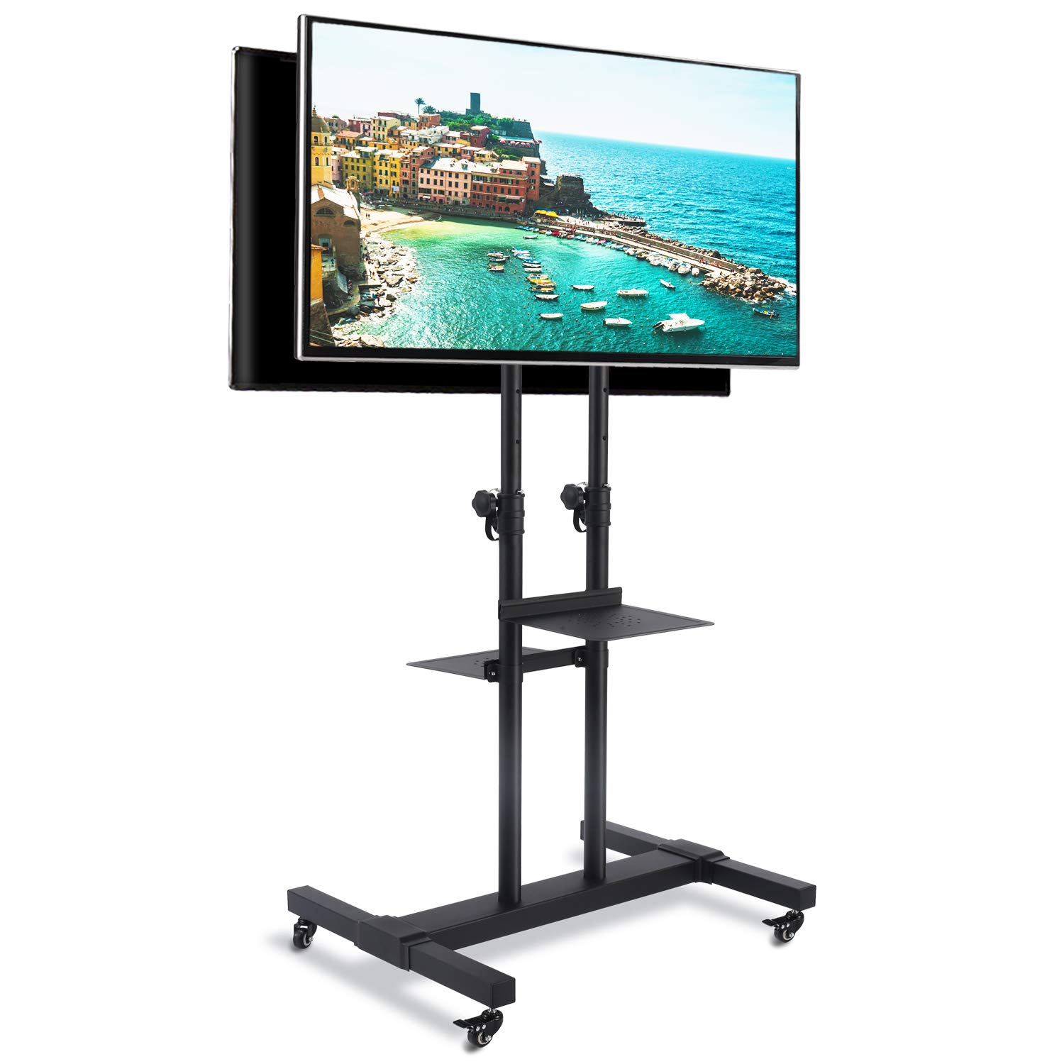 Rfiver Universal Mobile TV Stand Rolling TV Cart with Dual Shelf Tilt Mount and Wheels Heavy Duty Base for 37 40 42 45 47 50 55 60 65 70 75 80 inch LCD LED OLED Plasma Flat Panel or Curved Screen TVs by Rfiver