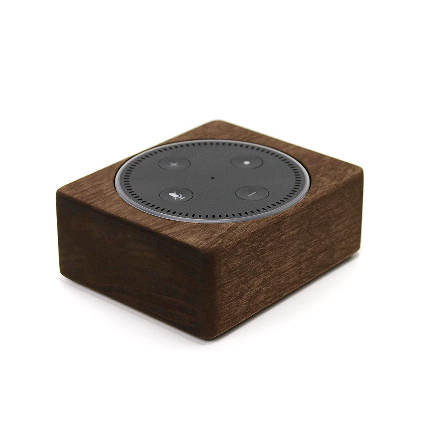 Echo Dot Wood Stand 2nd Gen, Handmade in USA, Solid Wood Holder, Rustic Hardwood Stand for Alexa, Decorative Protective Case Made from Alder Wood Espresso Color