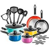 Chef's Star 17 Piece Professional Grade Aluminum Non-stick Pots & Pans Set - Induction Ready Cookware Set - Multi-color