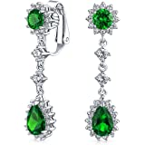 Bling Jewelry Simulated Emerald CZ Bridal Teardrop Chandelier Clip On Earrings Rhodium Plated Brass