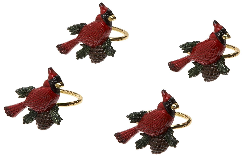 Christmas napkin rings holiday table Lenox Cardinal, Set of 4
