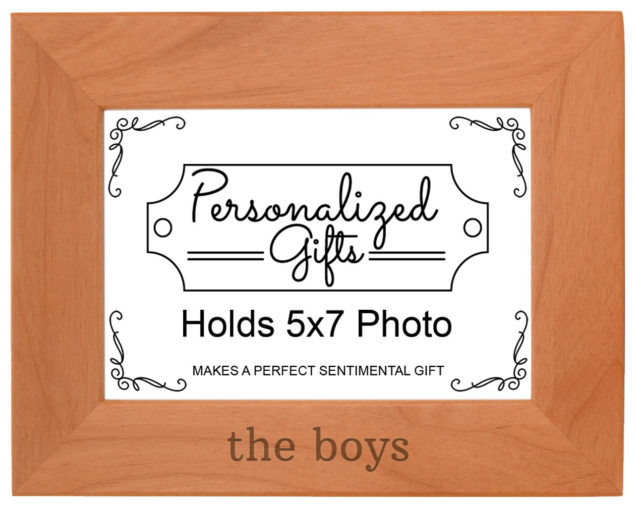 Personalized Gifts Brothers Gift The Boys Father Son Gift Natural Wood Engraved 5x7 Landscape Picture Frame Wood