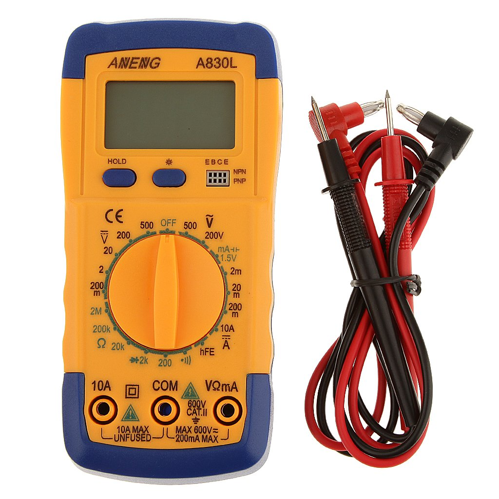 Digital Lcd Multimeter Dc Ac Voltmeter Ammeter Ohm A830l Tester Circuit Volt Blue With Yellow Lighting