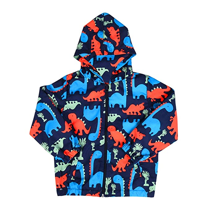 great fit speical offer high quality Toddler Boys Casual Zipper Hooded Jackets Coat Dinosaur Printed Windbreaker  Raincoat