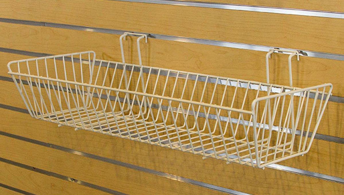 Metal Wire Baskets Shelf Slatwall Merchandise Display Fixture White Lot of 5 NEW