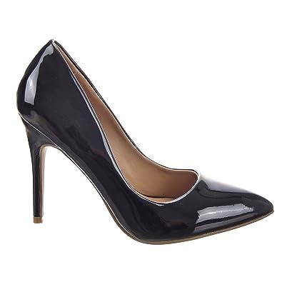 Femme escarpin chaussure talons aiguilles talon stiletto soir chaussure talon stiletto Noir JjCcs