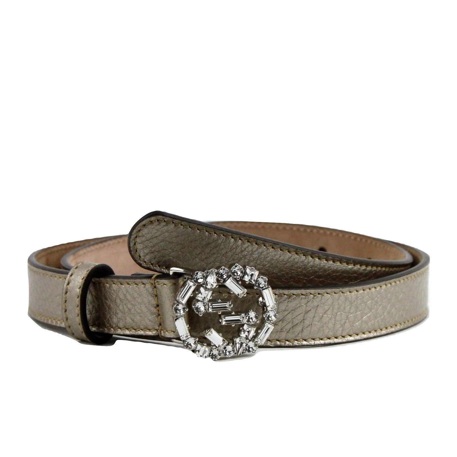 Gucci Women's Interlocking Crystal G Leather Skinny Belt 354380 (80 / 32, Metallic Beige)