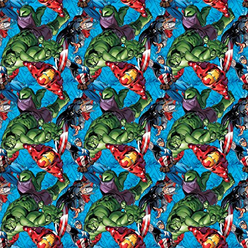 Contemporary Spring (Springs Creative Marvel Comics Avengers 100% Cotton D/R Print Fabrics, Character Toss, 43/44