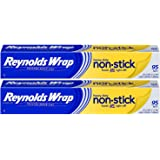 2 Pack, Reynolds Wrap Heavy Duty Non-Stick Aluminum Foil 95 sq ft, Packet Cook, Bake or Grill