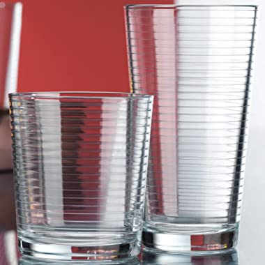 Set of 16 Heavy Base Ribbed Durable Drinking Glasses Includes 8 Cooler Glasses(17oz) and 8 Rocks Glasses(13oz), 16-piece Elegant Glassware Set