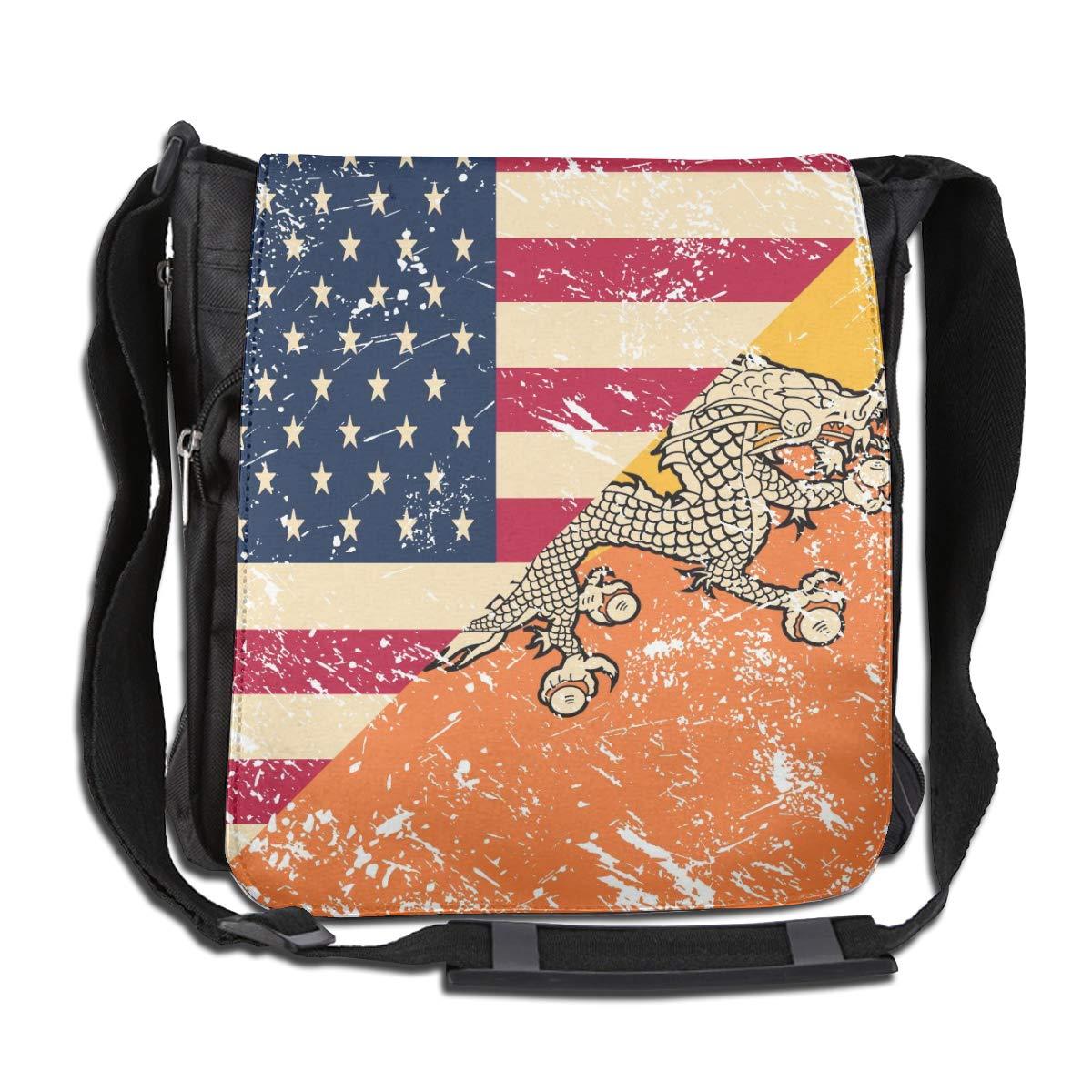 Unisex Fashion Satchel Messenger Bags American And Bhutan Retro Flag2 Crossbody Shoulder Bag Traveling Bag For School//Work//Trips