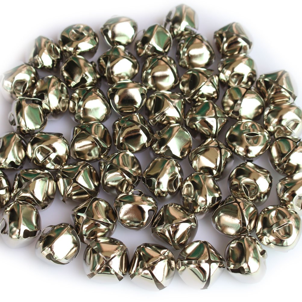 50 PCS 1 Inch/25mm Silver Christmas Jingle Bells Mini Small Bells Bulk for Festival & Party Decorations/DIY Craft Housuner Gear 4336848552