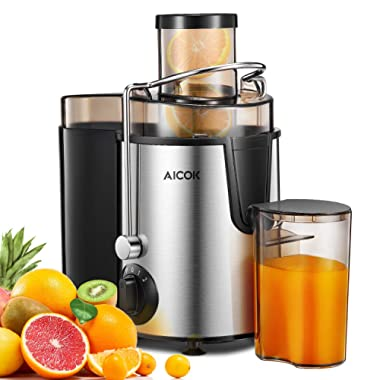 Juicer Aicok Juice Extractor with Wide Mouth, 3 Speed Centrifugal Juicer for Fruit and Vegetable, plus Pulse Function, Non-slip Feet, Stainless Steel and BPA free