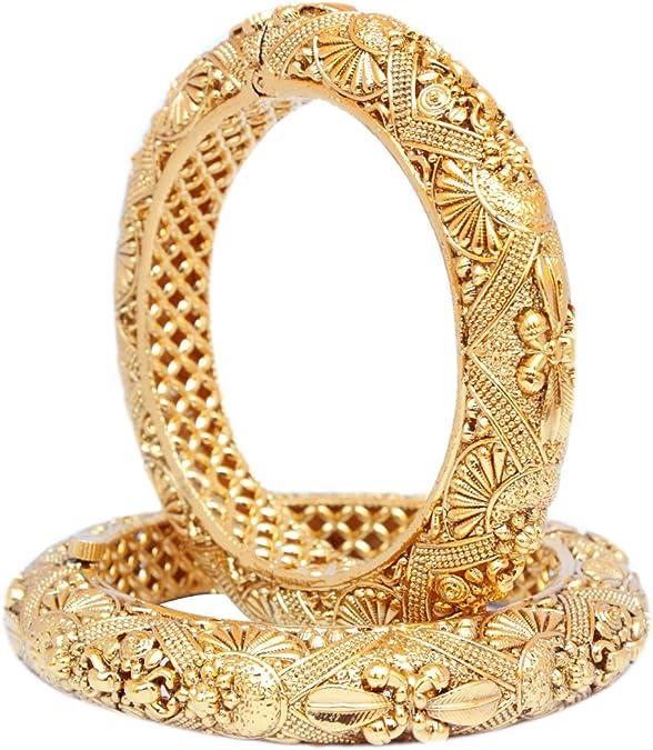 Indian Pakistani Gold Plated Bangle Pair Traditional Party Wear Kada Kangan New