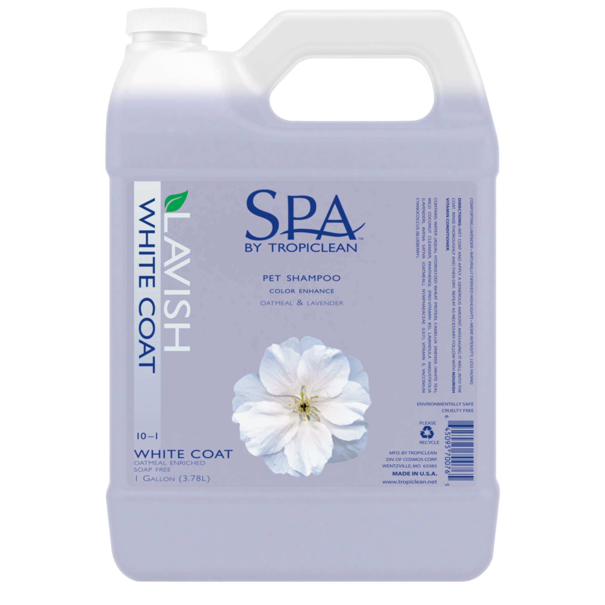 SPA by TropiClean White Coat Shampoo for Pets, 1 gal, Made in USA by TropiClean