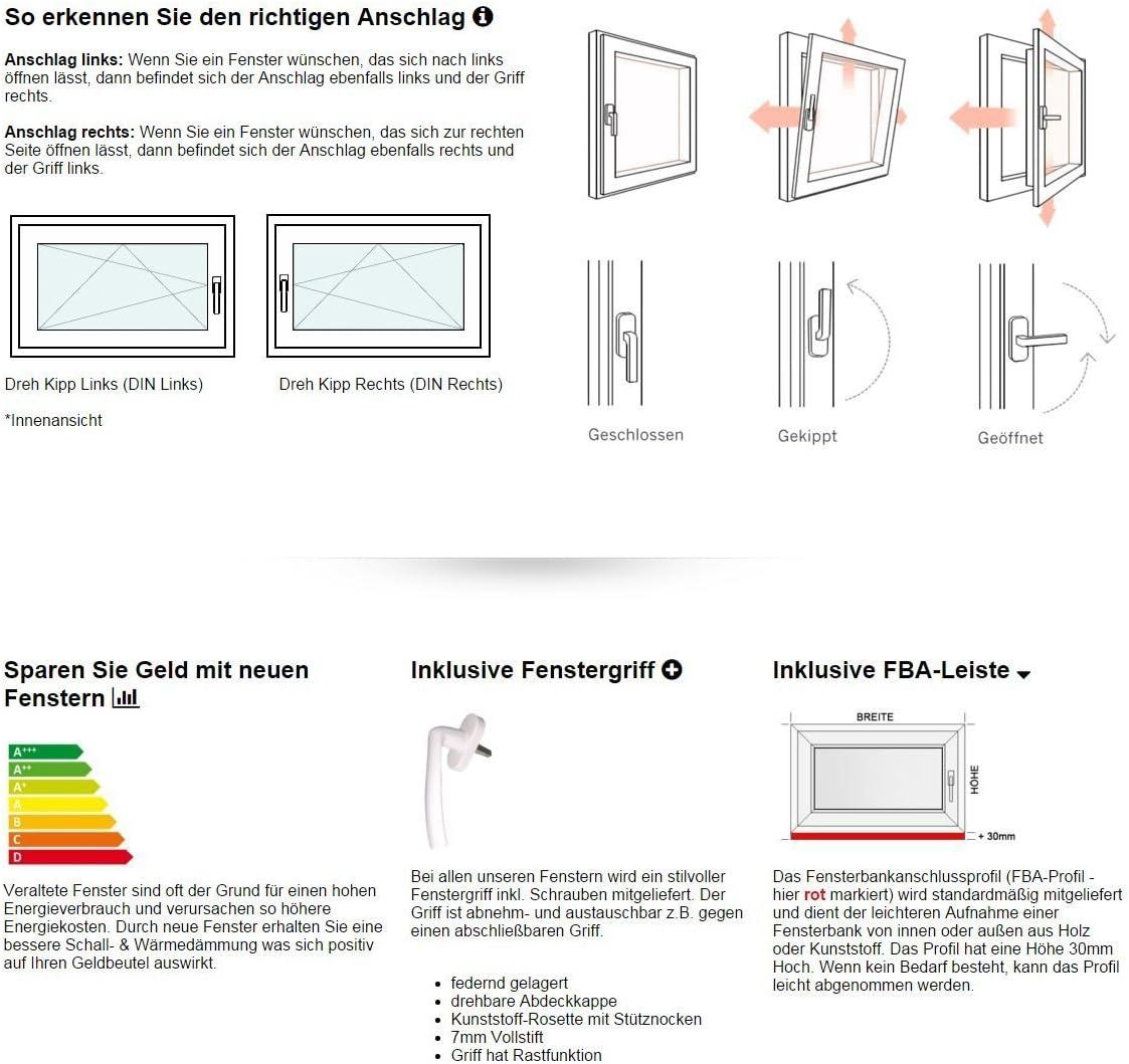 DIN Links 60 mm Profil BxH: 60 x 70 cm Kellerfenster Fenster innen wei/ß//au/ßen anthrazit 2 fach Verglasung Dreh- /& Kippfunktion 600 x 700 mm