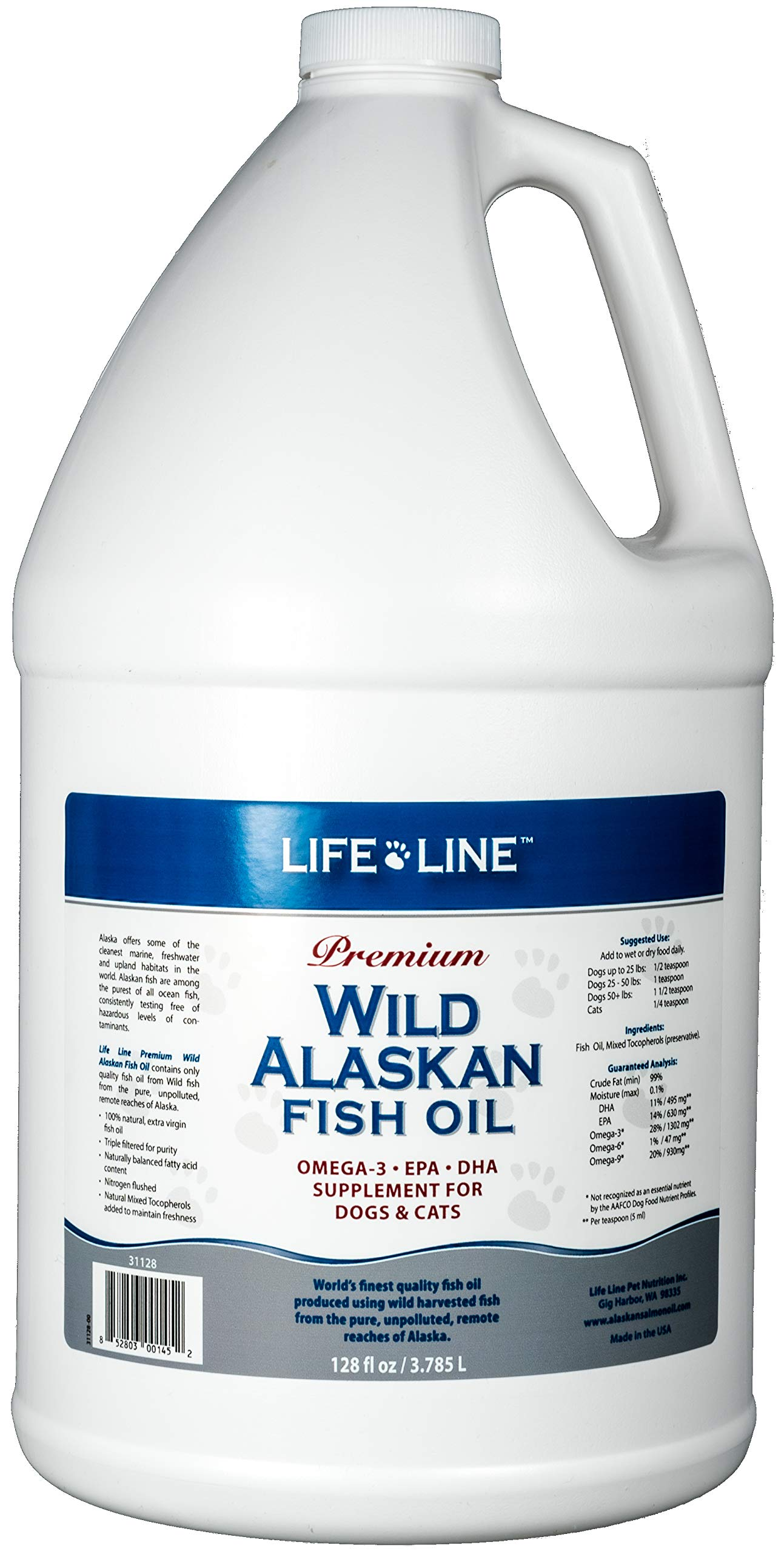 Life Line Pet Nutrition Wild Alaskan Fish Oil Omega-3 Supplement for Skin & Coat - Supports Brain, Eye & Heart Health in Dogs & Cats, 128oz by Life Line Pet Nutrition