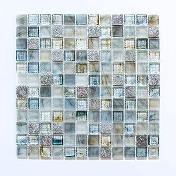 Fliesen Mosaik Mosaikfliese Glas Glänzend Cream Grau Küche Bad WC - Fliesen grau glänzend