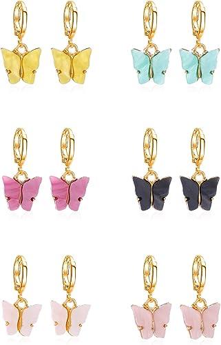 Butterfly Earrings Colorful Acrylic Butterfly Drop Earrings Womens Earrings Fashion Jewelry Gifts For Women Girls 6 Pairs