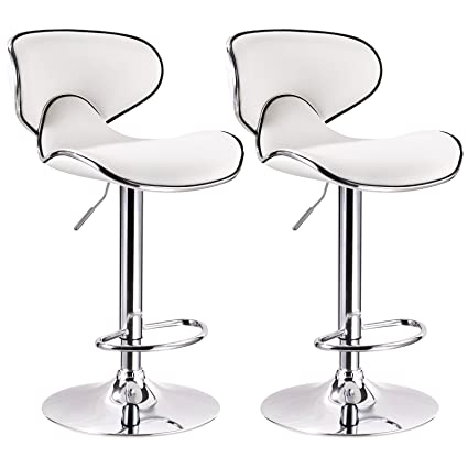 WOLTU Contemporary White Bar Stools Adjustable Synthetic Leather Seat And  Back Swivel Hydraulic Upholstered Kitchen Stools