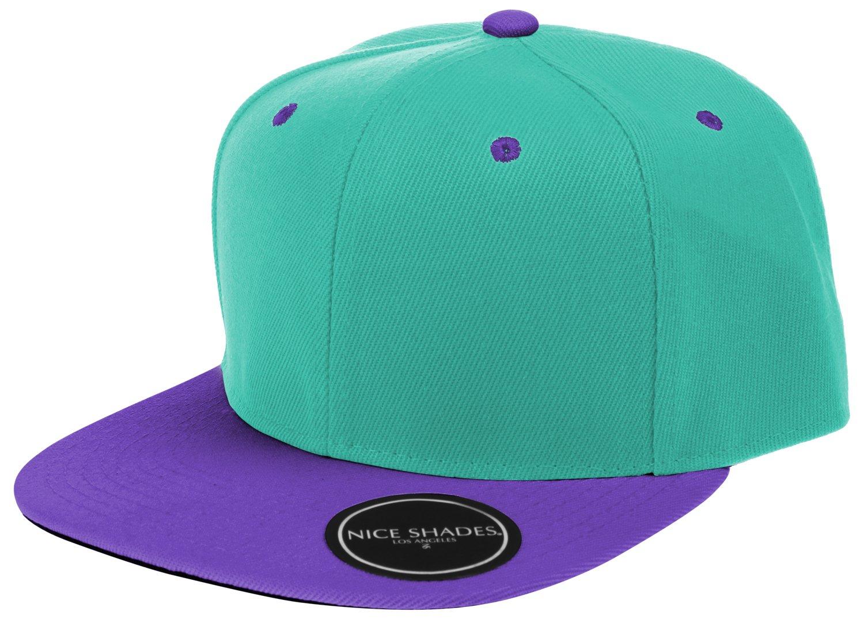 L.O.G.A. Plain Adjustable Snapback Hats Caps (Many Colors). Turquoise/Purple